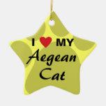J'aime (coeur) mon chat égéen Pawprint Ornement