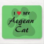 J'aime (coeur) mon chat égéen Pawprint Tapis De Souris