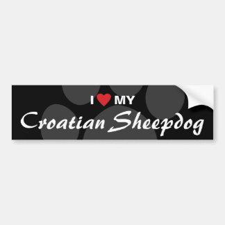 J'aime (coeur) mon chien de berger croate autocollant pour voiture