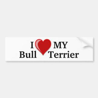 J'aime (coeur) mon chien de bull-terrier autocollant pour voiture