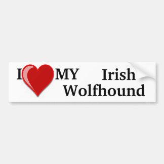 J'aime (coeur) mon chien de chien-loup irlandais autocollant pour voiture