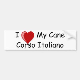 J'aime (coeur) mon chien de Corso Italiano de cann Autocollant Pour Voiture