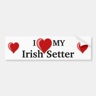 J'aime (coeur) mon chien de poseur irlandais autocollants pour voiture