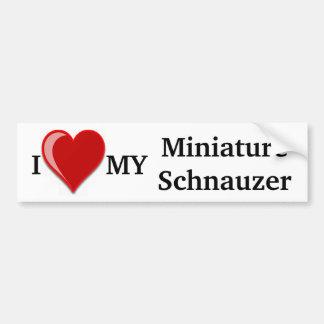 J'aime (coeur) mon chien de Schnauzer miniature Adhésifs Pour Voiture