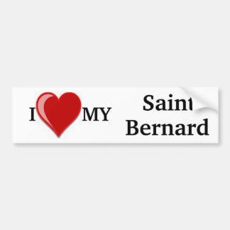 J'aime (coeur) mon chien de St Bernard Autocollants Pour Voiture