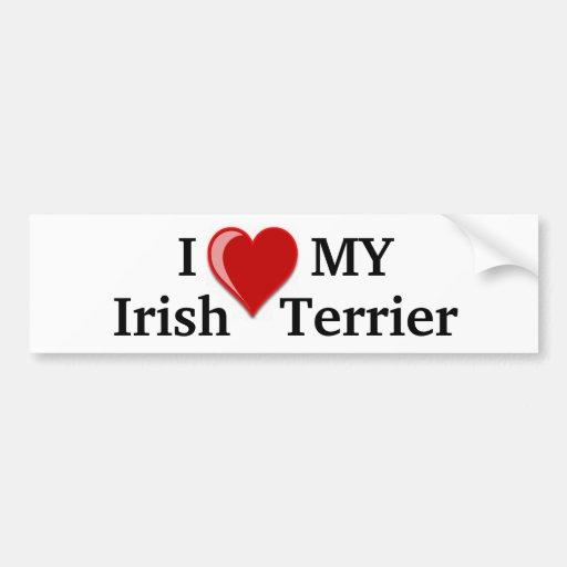 J'aime (coeur) mon chien de Terrier irlandais Autocollants Pour Voiture