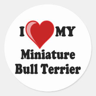 J'aime (coeur) mon chien miniature de bull-terrier sticker rond