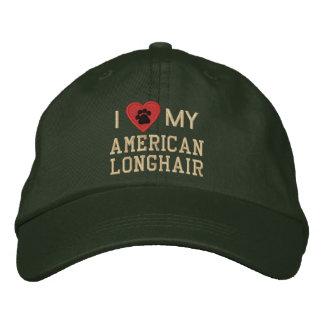 J'aime (coeur) mon Pawprint à cheveux longs Casquette Brodée