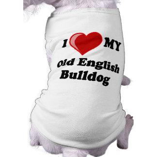 J'aime (coeur) mon vieux chien anglais de bouledog t-shirt pour chien