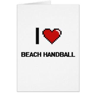 J'aime conception de Digitals de handball de plage Carte De Vœux