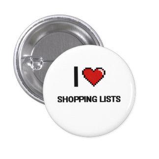 J'aime conception de Digitals de listes d'achats Badge Rond 2,50 Cm