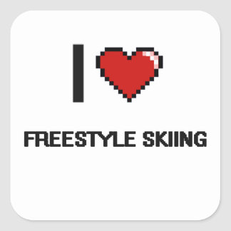 J'aime conception de ski de Digitals de style Sticker Carré