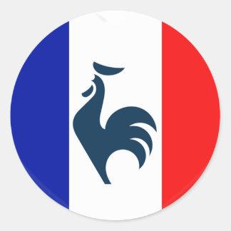 J'aime coq drapeau France Sticker Rond