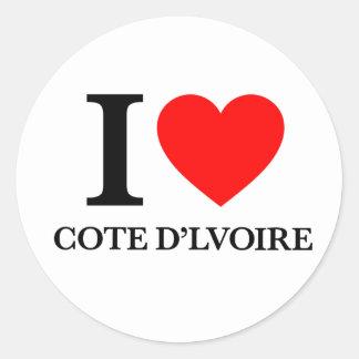 J'aime Cote de Lvoire Sticker Rond