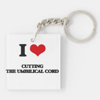 J'aime couper le cordon ombilical porte-clé carré en acrylique double face