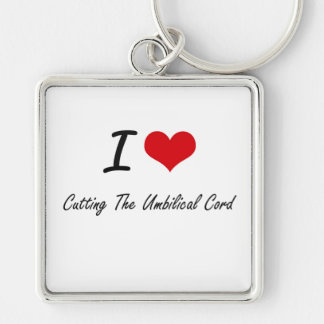 J'aime couper le cordon ombilical porte-clé carré argenté