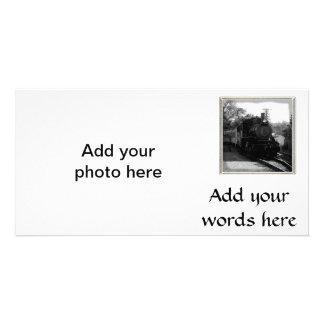 J'aime de vieux trains - arcade et chemin de fer d cartes de vœux avec photo