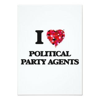 J'aime des agents de parti politique carton d'invitation  12,7 cm x 17,78 cm