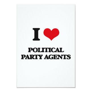 J'aime des agents de parti politique carton d'invitation 8,89 cm x 12,70 cm