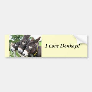 J'aime des ânes ! autocollant de voiture