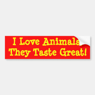 J'aime des animaux, ils goûte grand ! autocollant de voiture