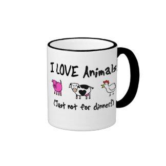 J'aime des animaux végétariens mug ringer