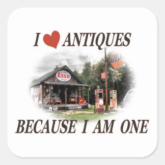 J'aime des antiquités parce que j'ai une ans sticker carré