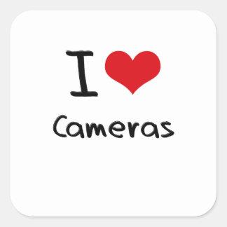 J'aime des appareils-photo stickers carrés