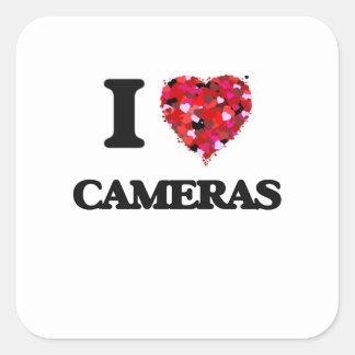 J'aime des appareils-photo sticker carré