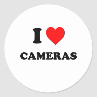J'aime des appareils-photo autocollant rond