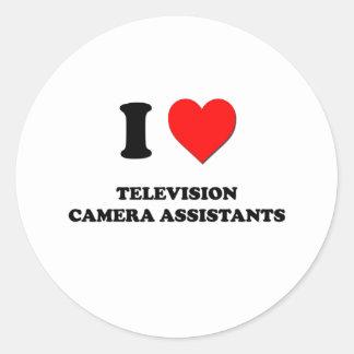 J'aime des assistants de caméra de télévision autocollant rond