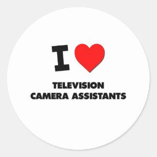 J'aime des assistants de caméra de télévision autocollants ronds