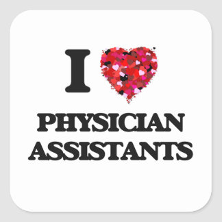 J'aime des assistants de médecin sticker carré