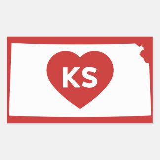 J'aime des autocollants d'état du Kansas