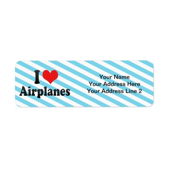 J'aime des avions étiquette d'adresse retour