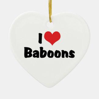 J'aime des babouins de coeur ornement cœur en céramique