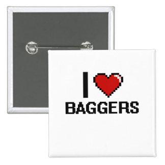 J'aime des Baggers Badge Carré 5 Cm