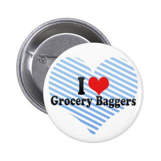 J'aime des Baggers d'épicerie Pin's Avec Agrafe