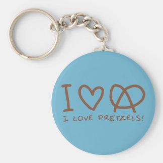 J'aime des bretzels porte-clé rond