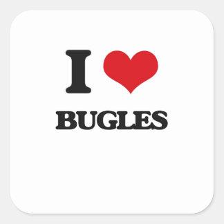 J'aime des bugles autocollant carré