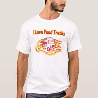 j'aime des camions de nourriture avec des flammes t-shirt