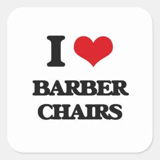 J'aime des chaises de coiffeur sticker carré