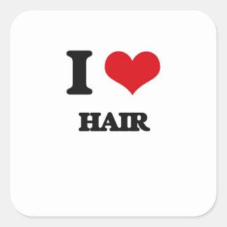 J'aime des cheveux sticker carré