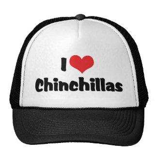 J'aime des chinchillas de coeur casquettes