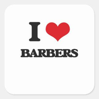 J'aime des coiffeurs sticker carré