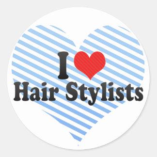 J'aime des coiffeurs sticker rond
