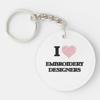 J'aime des concepteurs de broderie (coeur fait à porte-clé rond en acrylique une face