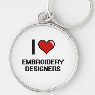 J'aime des concepteurs de broderie porte-clé rond argenté