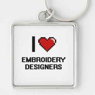 J'aime des concepteurs de broderie porte-clé carré argenté