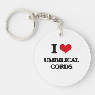 J'aime des cordons ombilicaux porte-clé rond en acrylique une face